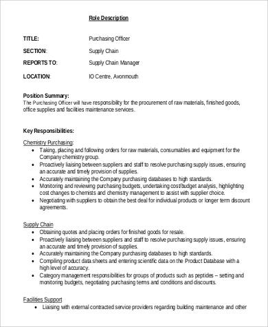 6+ Purchasing Officer Job Description Samples Sample Templates