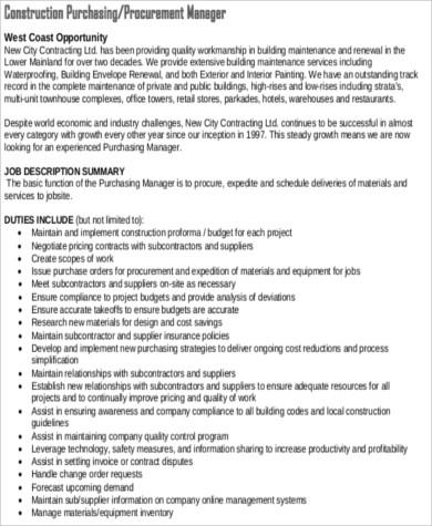 8+ Purchasing Manager Job Description Samples Sample Templates