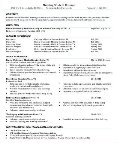 Sample Nursing Assistant Resume - 8+ Examples in Word, PDF