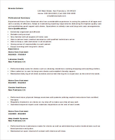 Sample Nursing Assistant Resume - 8+ Examples in Word, PDF