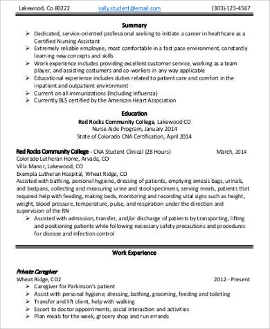 8+ Sample Nursing Assistant Resumes Sample Templates