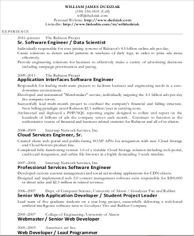 7+ Sample Data Scientist Resumes \u2013 PDF, Word Sample Templates