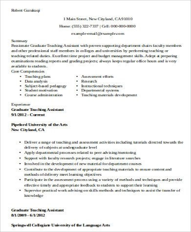 9+ Sample Teaching Assistant Resumes Sample Templates - sample teaching assistant resume