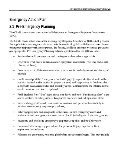 9+ Emergency Action Plan Samples Sample Templates - emergency action plan template