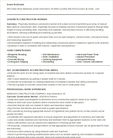 9+ Sample Construction Worker Resumes Sample Templates - construction worker resume examples