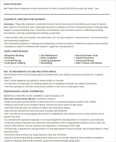 9+ Sample Construction Worker Resumes Sample Templates - construction worker job description