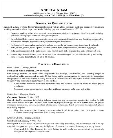 9+ Sample Construction Worker Resumes Sample Templates - resume for construction worker