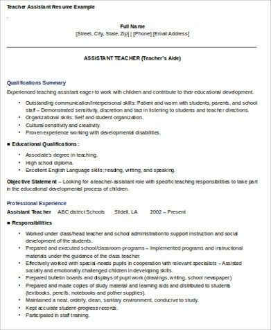 Resume For Teaching Assistant sample teaching assistant resume 9 - teaching assistant resume