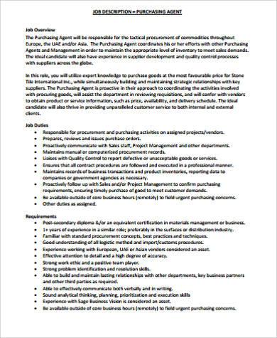 10+ Purchasing Job Description Samples Sample Templates
