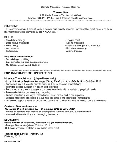 6+ Massage Therapist Resume samples, Examples, Templates Sample - sample massage therapist resume