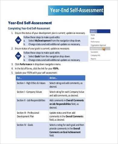 9+ Sample Self-Assessment Examples Sample Templates