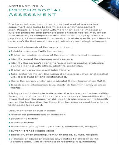 8+Nursing Assessment Sample Forms Sample Templates