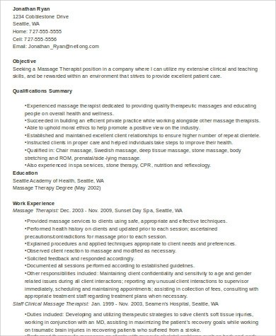 Massage Therapist Resume samples, Examples, Templates - 6+ Examples - Massage Therapist Resume Examples
