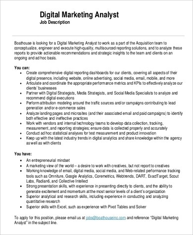 Marketing Job Descriptions  Sample Ideas