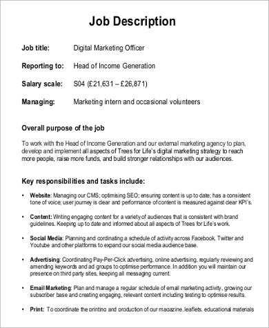 ... Digital Marketing Job Description Sample   9+ Examples In Word, PDF    Digital Marketing ...