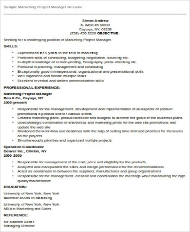 Sample Marketing Manager Resume - 8+ Examples in Word, PDF