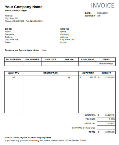8+ Business Invoice Samples Sample Templates - business invoice templates