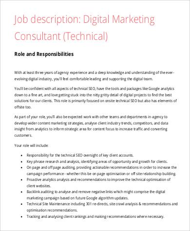 Digital Marketing Job Description Sample - 9+ Examples in Word, PDF - marketing consultant job description