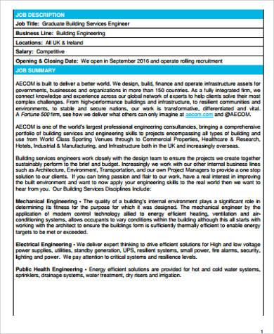 Building Engineer Job Description Sample - 8+ Examples In Word - building engineer job description