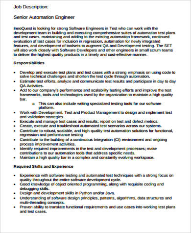 8+ Building Engineer Job Description Samples Sample Templates