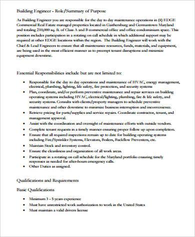 8+ Building Engineer Job Description Samples Sample Templates