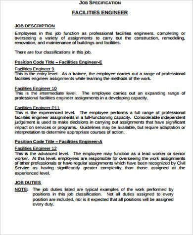 Building Engineer Job Description Sample - 8+ Examples in Word, PDF
