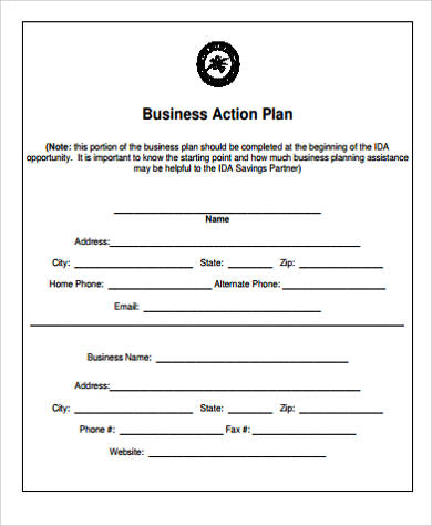 7+ Sample Business Action Plans Sample Templates - sample business action plan