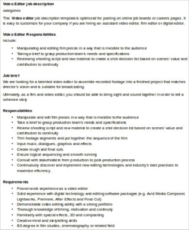 Editor Job Description It Resume Cover Letter Health Editor Cover