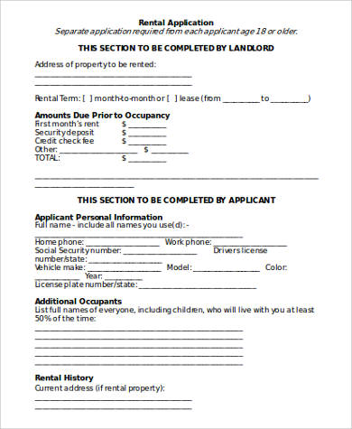 8+ Sample Rental Application Forms in Word Sample Templates