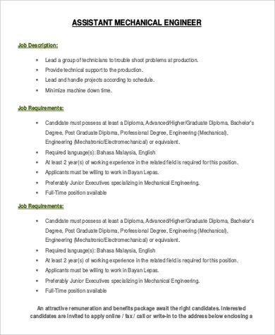 8+ Assistant Engineer Job Description Samples Sample Templates