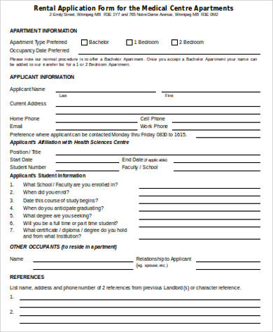 8+ Sample Rental Application Forms in Word Sample Templates - rental application form in word