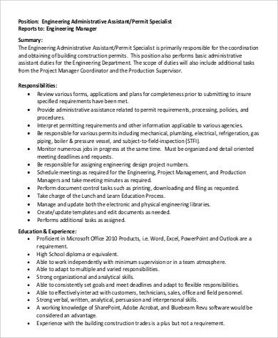 Building Engineer Job Description resume templates chief building