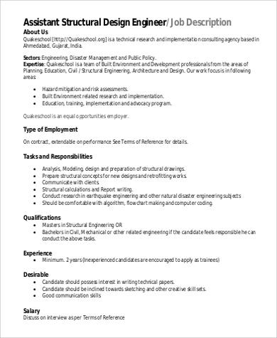 8+ Assistant Engineer Job Description Samples Sample Templates