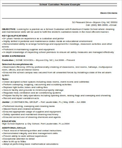 8+ Sample Custodian Resumes Sample Templates