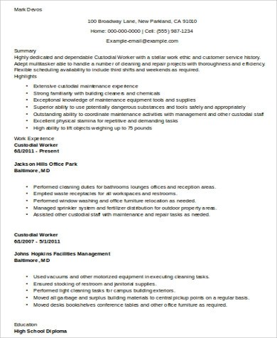 8+ Sample Custodian Resumes Sample Templates - custodian job description