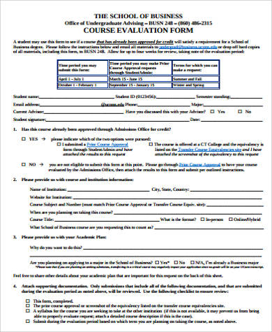 10+ Sample Course Evaluation Forms Sample Templates