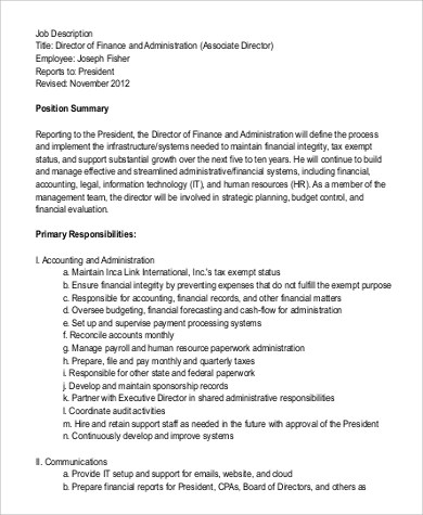 Finance Director Job Description Sample - 9+ Examples in Word, PDF - it director job description