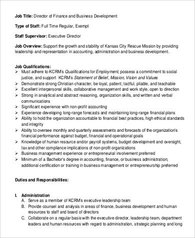 9+ Finance Director Job Description Samples Sample Templates