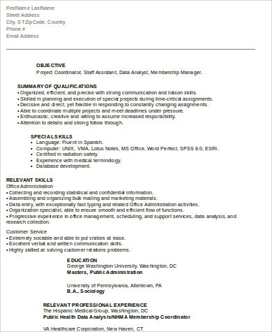 8+ Sample Project Coordinator Resumes Sample Templates