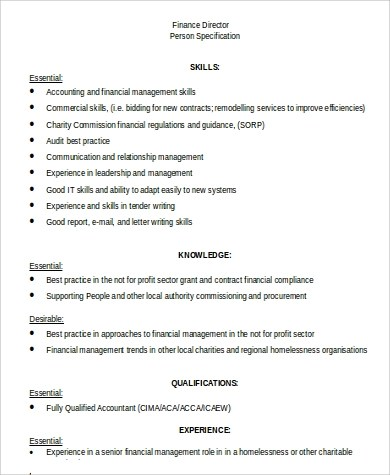 Finance Director Job Description Sample - 9+ Examples in Word, PDF - it director job description