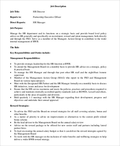 HR Director Job Description Sample - 11+ Examples in Word, PDF