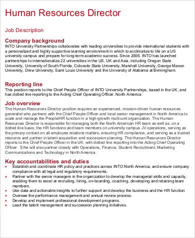 HR Director Job Description Sample - 10+ Examples in Word, PDF - hr director job description