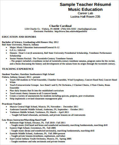 7+ Sample Music Resumes Sample Templates - resume music