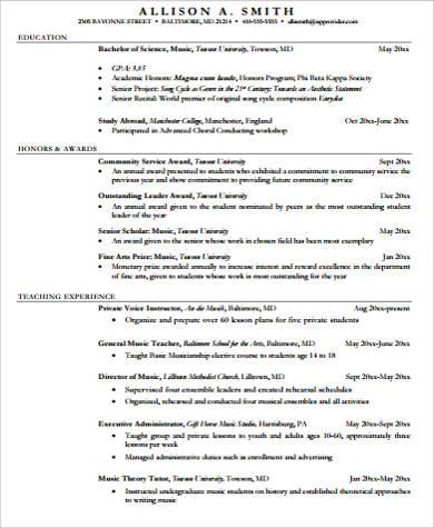 7+ Sample Music Resumes Sample Templates - music resume example