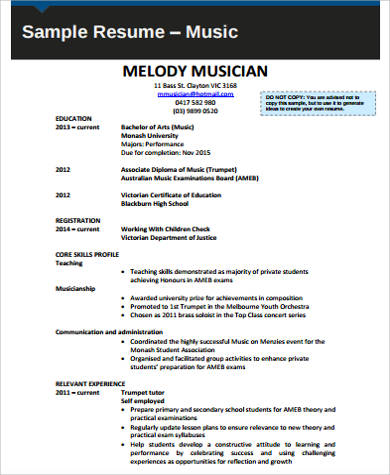 Sample Music Resume - 7+ Examples in Word, PDF - musician resume examples