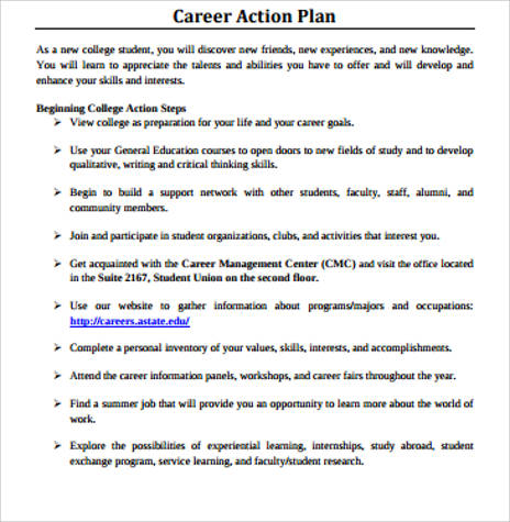 8+ Sample Career Action Plans Sample Templates - personal action plan template