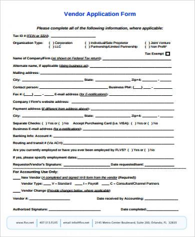 9+ Sample Vendor Application Forms Sample Templates