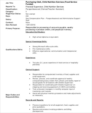 Purchasing Clerk Job Description Sample   9+ Examples In Word, PDF