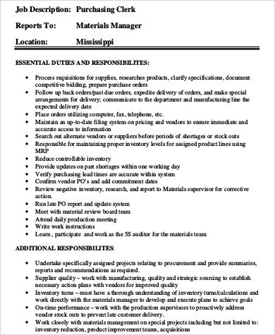 Purchasing Clerk Sample Resume  NodeCvresumePaasproviderCom