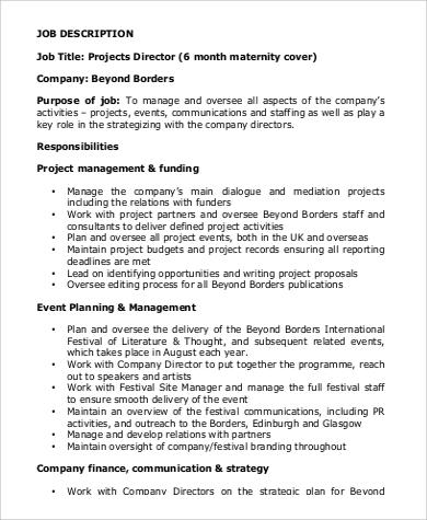 6+ Project Director Job Description Samples Sample Templates